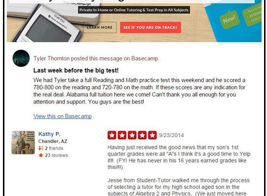 Student-Tutor 5 Star Yelp, Google, and Facebook Review