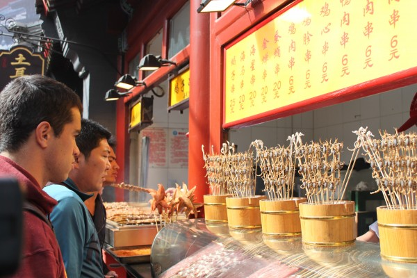 Eating scorpions in Beijing, China